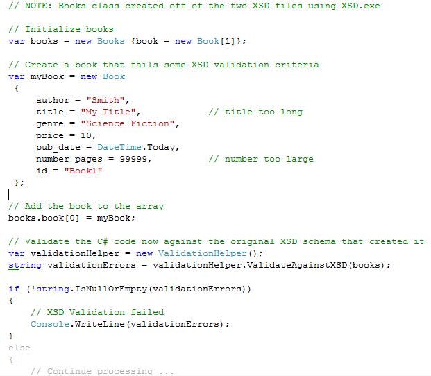 Validating xml using xsd c# class generation
